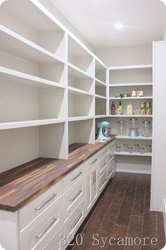42 Creative And Inspiring Pantry Design Ideas - Pantry Room Kitchen Pantry Design, Kitchen Pantry Cabinets, New Kitchen, Awesome Kitchen, Kitchen Ideas, Kitchen Floor, Kitchen Pantry Storage, Space Kitchen, Cheap Kitchen