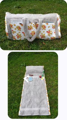 Make a tote bag that turns into a beach towel (with a pillow in it!)