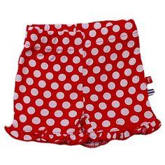 Feetje zomer 2012. Rood met witten stippen kort broekje met onderaan een roeseltje. Maat 68: 3 euro 47 via Like Leaf.