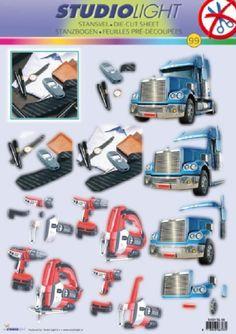 A4 3D StudioLight male themed die cut decoupage # 99 - trucks, desk, power tools