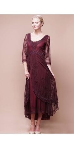 Nataya Downton Abbey Tea Party Gown. Tulle and soutache embroidery on the overlay Cotton Voil Lining