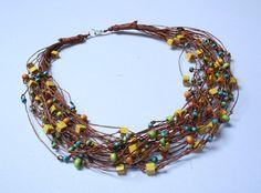 Collar de verano ropa de estilo Folk con granos de woodden