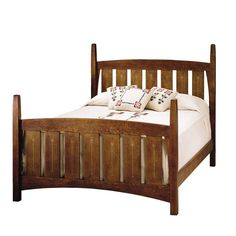 Slatted mission bed with inlay available in many sizes and made of solid hardwood in oak or cherry. Can be ordered at any of our Chicago stores.
