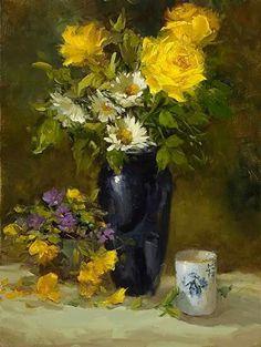 Натюрморт Flower Paintings, Still Life Art, Various Artists, Beautiful Paintings, Sculpting, Artworks, Portraits, Landscape, Canvas