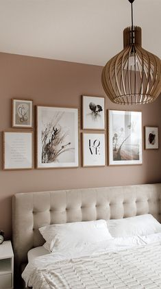 Bedroom Gallery Wall on a dusty pink wall Light bedroom velvet bed wood scandinavian living scandi interior Bilderwand im Schlafzimmer Gallery Wall Bedroom, Room Ideas Bedroom, Home Bedroom, Bedroom Wall, Bedroom Decor, Light Bedroom, Bedroom Boys, Tuscan Bedroom, Next Bedroom