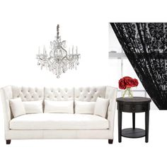 Black & White with a Touch of Red = A Classy Living Room, created by jenleding