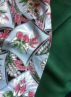 Original 1940's novelty print rayon (silky), and 1940's fine green wool