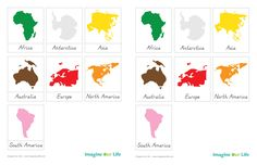 Montessori Continents Map & Quietbook with Free Cards from Imagine Our Life- Memory game? Montessori Education, Montessori Classroom, Montessori Toddler, Montessori Activities, Continents Activities, Dinosaur Activities, Primary Education, Geography For Kids, Teaching Geography