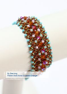 Netted Elegance Another fun and easy bracelet from Anna Elizabeth Draeger new book, Crystal Play. I used Astral Pink and Light Siam 2X for 4mm.,
