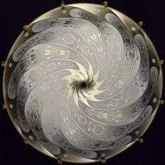 Sage grey silk scudo saraceno Fortuny lamp