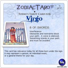 Zodiac Tarot for July 17: Virgo <br>  http://ifate.com