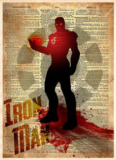 Iron Man art, Avengers, Vintage pop art print, Iron man splatter art print