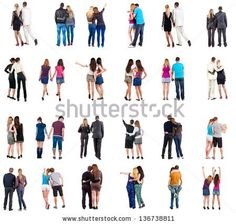 """Collection """"Back view of young couple"""".  Rear view people collection.  backside view of person.  Isolated over white background. Set """"happy people together"""""""