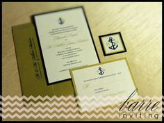 navy and gold nautical themed invitation