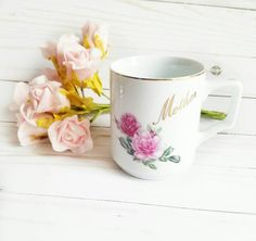 Mother Coffee Mug Mothers day Mug Pink Roses by ShabbyChicJCouture