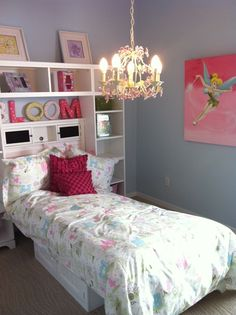 Elegant little girls room - Tinkerbell, shelves & chandelier - PERFECT  (from my model home tour today)