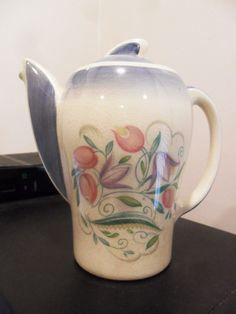 "1940 Susie Cooper Dresden Spray, Blue Trim, 6"" H Coffee Pot KESTRAL SHAPE #SusieCooper"