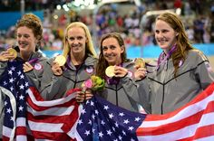 U.S women finish the 2012 Olympics with a GOLD in the 4x100 medley relay with a world record 3:52:05. #GoTeamUSA #USASwimming #LondonOlympics