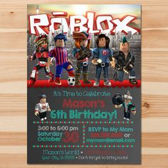 Printable Personalized Roblox Invitation Red and Teal This adorable Personalized Roblox Invitation is the perfect way to invite guests to your little ones birthday party! ============================== Whats Included In the Listing? ==================&#x3...