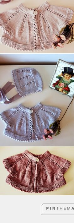 Oh the pretty baby sacque!! This site sells knits so a pattern is not provided, but details on their beautiful designs are worth noting for inspiration: top-down round yoke, picot hem at collar, combination of garter on buttonband, hem & cuffs w/stockinette & lace on body; 8 evenly spaced columns of double increases, finishing with either picots or crochet shell stitch. Mother-of-pearl button. Choice of dove gray or dusty rosewood. Lovely assorted cap with ribbon ties. ~~ Las coletas de…