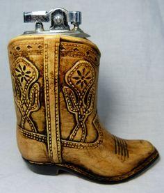 Vintage Brown Cowboy Boot Lighter Made In Japan Western Cactus Tabletop Ceramic