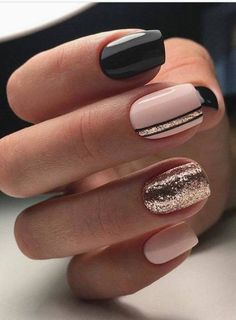 nails, black, and pink afbeelding
