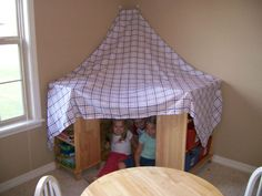 Tent for the animals to sleep in at the stuffed animal sleepover