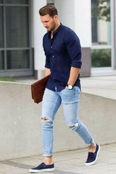 Light Blue Jeans Outfit Men Collection mens casual fashion navy shirt light blue jeans slip on Light Blue Jeans Outfit Men. Here is Light Blue Jeans Outfit Men Collection for you. Mens Fashion Blog, Fashion Mode, Fashion Outfits, Fashion Trends, Fashion Ideas, Style Fashion, Fashion For Man, Fashion Black, Men Summer Fashion