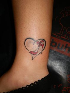 ... Off on Black Ink Coolest Heart Ankle Heel Tattoo Design For Cool Women