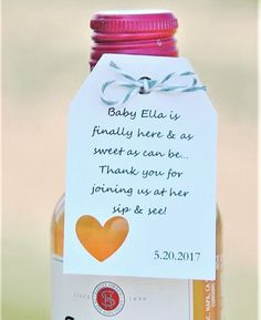 Baby is finally here & as sweet as can be Thank you for joining us at her sip & see! ~  Baby Sip & See Gift Tags ~ thanks for coming to our baby's sip and see! www.kendollmade.com