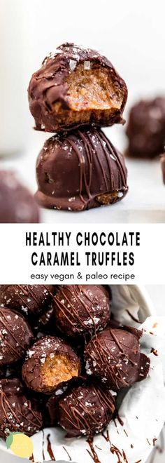 These healthy chocolate caramel truffles are a vegan and gluten free dessert that are SO easy to make. With a date caramel filling, this paleo recipe is perfect to satisfy your chocolate craving. These chocolate truffles are perfect with sea salt on top and made with coconut milk, coconut oil and almond butter. #chocolatetruffles #vegantruffles Best Chocolate Desserts, Raw Desserts, Homemade Desserts, Gluten Free Chocolate, Healthy Chocolate, Chocolate Truffles, Healthy Dessert Recipes, Vegan Snacks, Healthy Candy