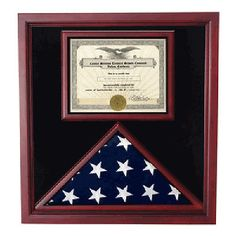 Extra-Large-Award-and-Flag-Display-Case-for-3x5-flag-Hand-Made-By-Veterans