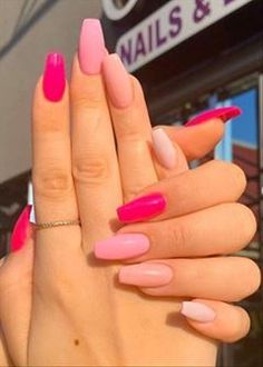 Purple And Pink Nails, Dusty Pink Nails, Barbie Pink Nails, Bright Pink Nails, Orange Nails, Baby Pink Nails With Glitter, Pink Tip Nails, Acrylic Nails Coffin Pink, Pink Summer Nails