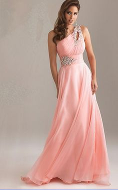 One-Shoulder light pink chiffon gown with crystal bead work at waist and  on shoulder