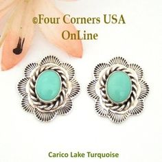 Carico Lake Turquoise Sterling Concho Earrings Navajo Darlene Platero No 4 Four Corners USA OnLine Native American Silver Jewelry NAER-130214