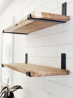 Diy Wooden Shelves, Wooden Diy, Diy Wall Shelves, Laundry Shelves, Diy Kitchen Shelves, Wood Bathroom Shelves, Industrial Shelves, Open Kitchen Shelving, Shelves In Bedroom