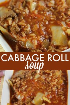 Roll Soup - Everything I love about a cabbage roll, but 100 times easier to make!Cabbage Roll Soup - Everything I love about a cabbage roll, but 100 times easier to make! Crock Pot Recipes, Easy Soup Recipes, Cooker Recipes, Healthy Recipes, Low Carb Soup Recipes, Rice Recipes, Dinner Recipes, Cabbage Soup Recipes, Food Dinners