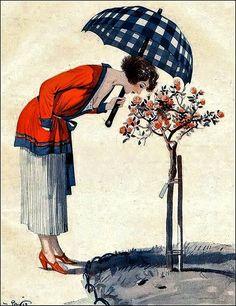 La Vie Parisienne Woman w Parasol Smelling Flowers 1922 George Pavis