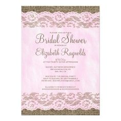 "Pink & Brown Rustic Lace Bridal Shower Invitations 5"" X 7"" Invitation ..."