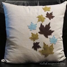 Pillow With Felt Leaves I Could Do This I Think