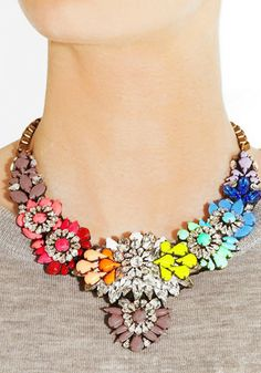 Amalfi Rainbow Floral Necklace from Bauble Boutique Floral Necklace, Rhinestone Necklace, Gemstone Necklace, Necklace Chain, Fashion Jewelry Necklaces, Jewelery, Jewelry Accessories, Women Jewelry, Totes