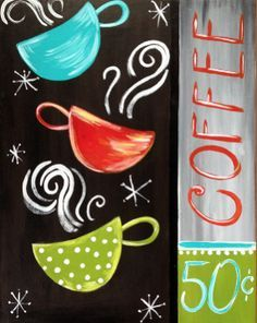 Coffee Fest nor Coffee Grinder Starbucks out Coffee Shop Music down Coffee Meets Bagel Login minus Coffee Shop Jobs Coffee Painting Canvas, Coffee Cup Art, Coffee Shop, Coffee Mug Drawing, Diy Painting, Painting & Drawing, Paint And Sip, Paint Party, Diy Canvas