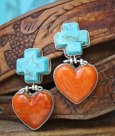 Coral heart, turquoise cross earrings