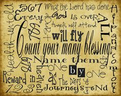 Somewhere in Craftland: Count your blessing subway art/Free printable