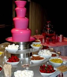 pink chocolate fountain, the BEST of both worlds Chocolate Fountain Recipes, Chocolate Fountains, Pink Chocolate, Belgian Chocolate, Sweet 16 Parties, Pink Parties, Nutella Cookie, Deco Buffet, Catering