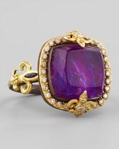 18k Gold Fleur de Lis Sugilite Ring by Armenta at Neiman Marcus.<31980<3<3