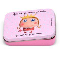 """Boîte à bons points """"Quand je serai grande, je serai Princesse""""  - Le Coin des Créateurs #lecoindescreateurs #isabellekessedjian #boiteabonspoints #boitemetal #princesse"""