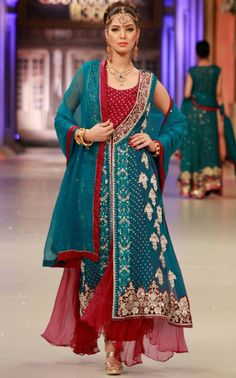 Buy Red/Blue Embroidered Crinkle Chiffon Front Open Gown by PakRobe.com