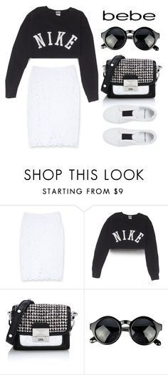 """""""All Laced Up for Spring with bebe: Contest Entry"""" by giorgia-111 ❤ liked on Polyvore featuring Bebe, NIKE, Karl Lagerfeld, Pierre Hardy and alllacedup"""