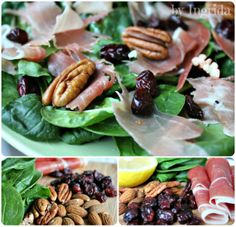 Spinach Salad with Jamón Serrano, Pecans and Dried Cranberries